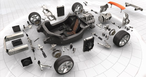 Exploded view shows the 12C's carbon fiber monocoque tub & other inner workings