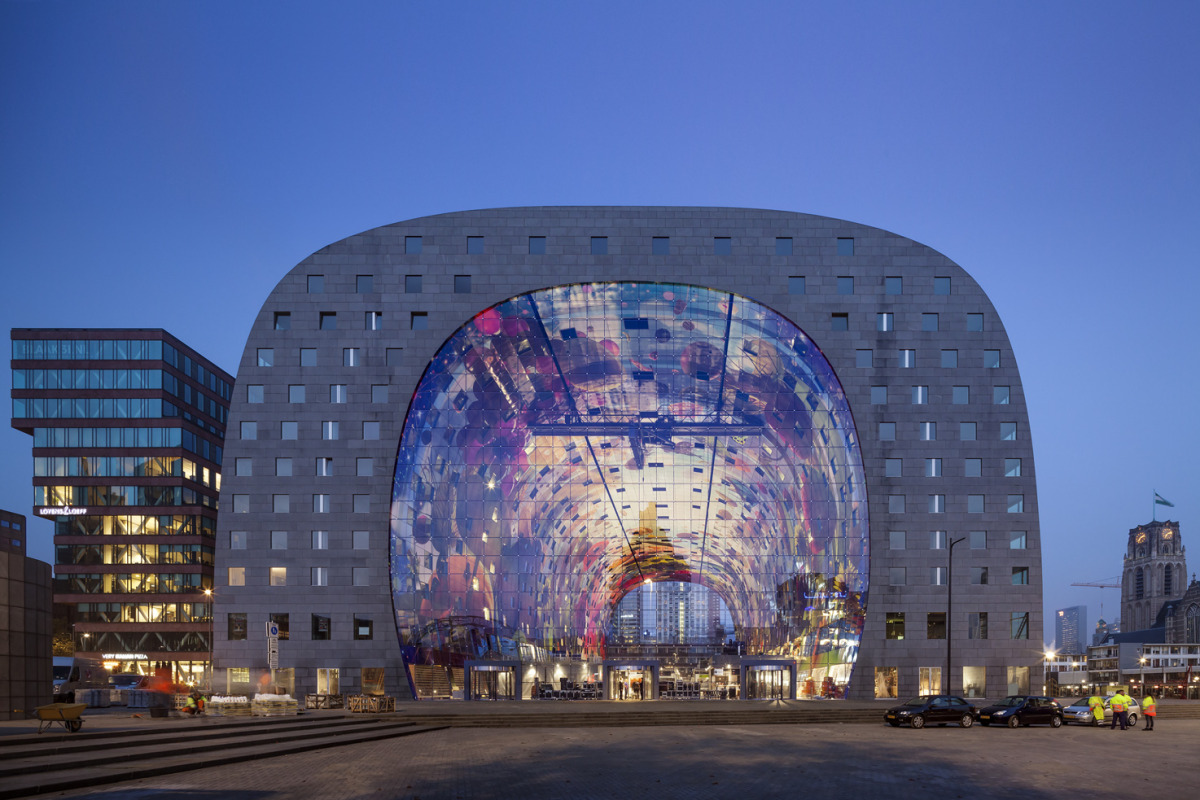 Rotterdam's Dutch person aquarium, MARKET HALL, offers residents a vibrant, diverse mixed-use space - slide 1