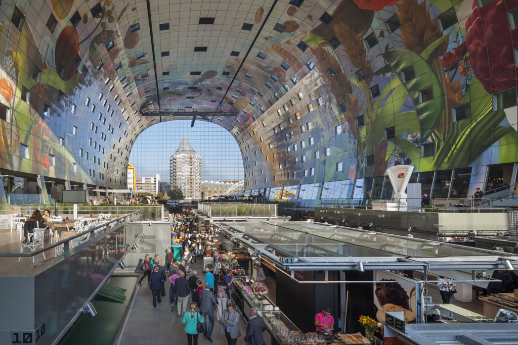 Rotterdam's mixed use MarketHall space incorporates both residential components & flexible vendor space