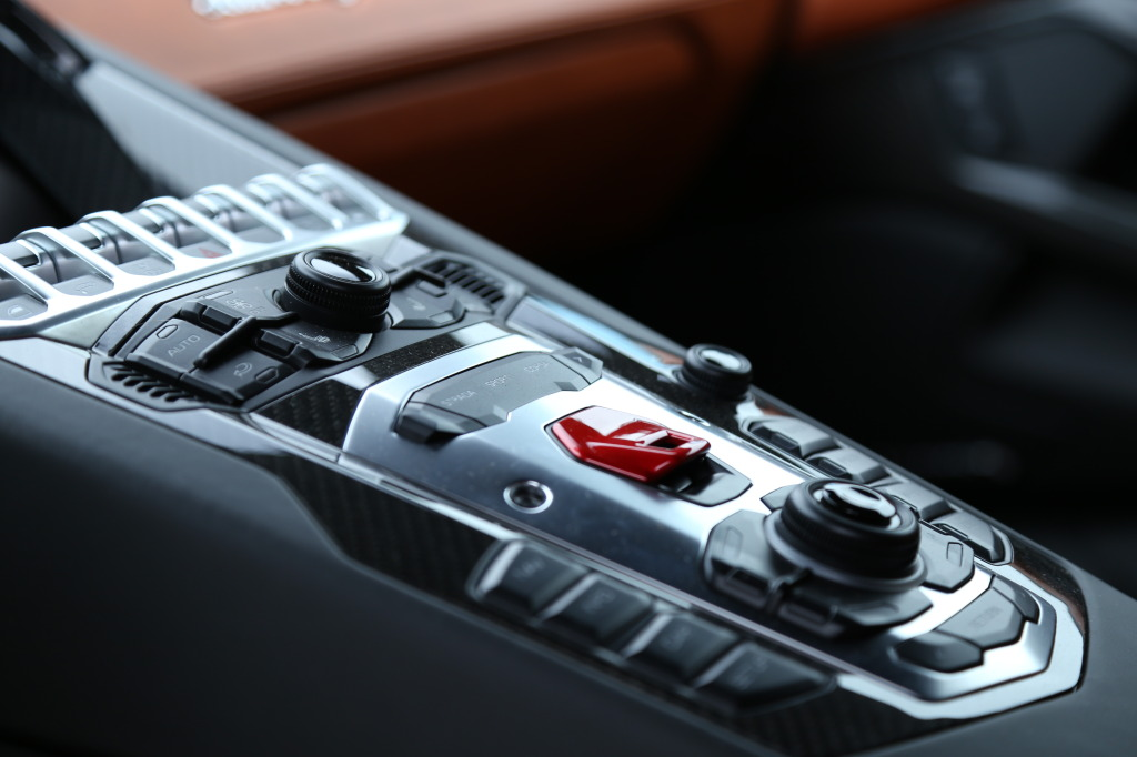 Aventador's fighter jet ready instrument console, with ignition flip switch
