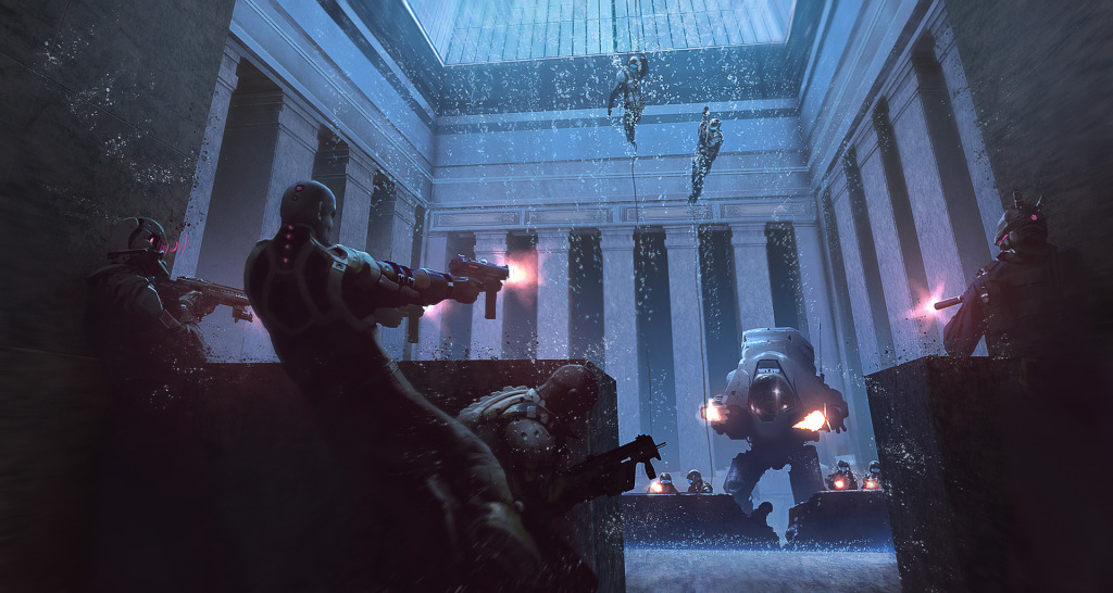 SystemCrash, scene from a firefight, with robots, in the corporate lobby