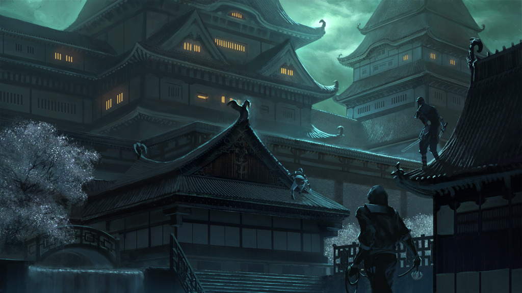 Rise of the Kage, outside_the_castle, required Klaus to reference historical materials to accurately convey the game's story & period