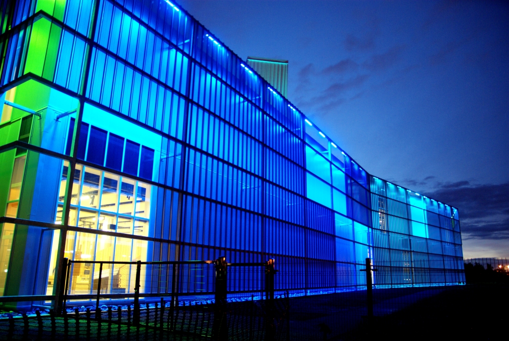 At night, variable mood lighting inset between the skin and building varies SPARKS' personality across an RGB spectrum