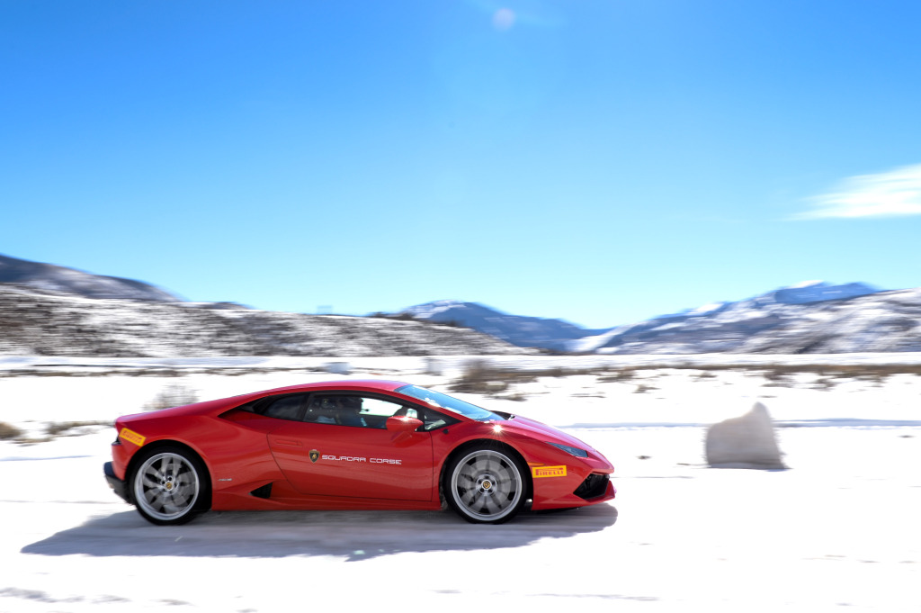 Lamborghini's new Huracan takes to the snow in Colorado last month